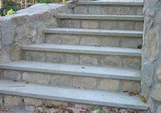 Natural Bluestone Treads sold at Ondrick Natural Earth, Chicopee, MA Stamped Concrete Driveway, Driveway Paving, Concrete Steps, Concrete Driveways, Stone Porches, Brick Porch, Bluestone Pavers, Patio Slabs, Front Porch Steps