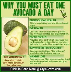 Why You Must Eat One Avocado A Day. Avocado is a rather unique type of fruit. There are many health benefits along with great tasting flavor! Get Healthy, Healthy Tips, Healthy Choices, Healthy Facts, Healthy Fridge, Healthy Drinks, Healthy Weight, Healthy Skin, Avocado For Skin