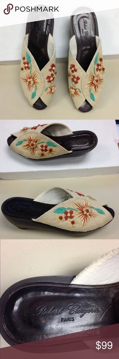 "Robert Clergerie Canvas Mules 9 Robert Clergerie, Paris, soles state Made in France. Amazing embroidered raffia on burlap /canvas woven peep toe shoes/clogs, size 9. Soles are leather, heels are man made. 1 1/4"" platform, heel is 2 1/2"" overall. Inside is stamped ""9 B19 2888 25"". Colors are tan, rust and light green. Robert Clergerie, Paris Shoes Mules & Clogs"