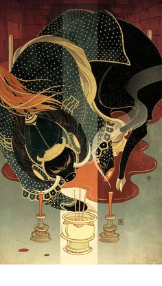 A dazzling illustration by Victo Ngai for Chinese Fairy Tales & Fantasies, a collection that reflects the three core philosophies of Confucianism, Buddhism and Taoism.
