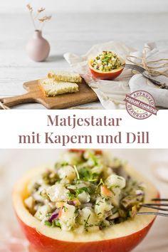 Matjestatar mit Kapern und Dill ist eine tolle Vorspeise die sich schnell vorbereiten lässt. Es punktet nicht nur mit dem tollen Geschmack, sondern liefert auch wichtige Nährstoffe für unseren Körper. Einfach kurz vor dem Servieren aus dem Kühlschrank holen und mit einer Scheibe Brot genießen. Foodblogger, Camembert Cheese, Risotto, Ethnic Recipes, Fast Recipes, Eat Lunch, Food Dinners, Dill Recipes, Interesting Salads