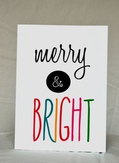 Greeting Cards - Merry and Bright - Christmas Card - Holiday Card. $3.50, via Etsy.