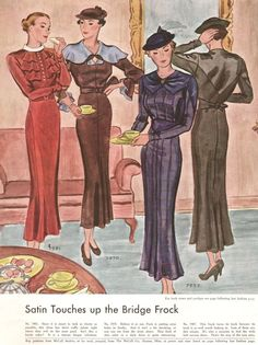 1930s fashion plate, illustration: McCall Magazine, October 1934. Satin touches up the bridge frock. Source: the amazing blog called http://what-i-found.blogspot.com