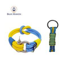 Bran Marion Yellow and Blue Rope Bracelet and Keychain Nautical Bracelet, Handmade Bracelets, Yellow, Blue, Jewelry, Style, Surfers, Rope Bracelets, Blue Nails