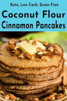 These keto cinnamon pecan coconut flour pancakes drenched in sugar free maple syrup create the ultimate low carb breakfast item. a combination that puts you Keto Bread Coconut Flour, Coconut Flour Recipes, Sugar Bread, Almond Bread, Pecan Pancakes, Coconut Flour Pancakes, Pancakes Easy, Quick Keto Breakfast, Breakfast Items