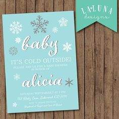Winter Baby Shower Invitation, Baby it's cold outside, Snowflake Baby Shower Invite, Baby Boy, Baby Girl, DIY Printable
