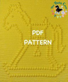 Rocking Horse Baby Blanket  Pattern - Wall Hanging  - Baby Snuggle Blanket - Car Seat Blanket