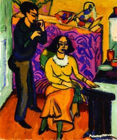 Otto and Maschka Mueller in the Studio Artwork by Ernst Ludwig Kirchner Hand-painted and Art Prints on canvas for sale,you can custom the size and frame