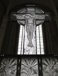 Christ on a translucid cross by  René Lalique at the Chapelle de la Congrégation Notre-Dame de Fidélité. Photo by Shu