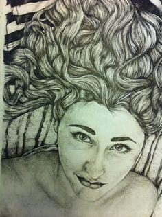 Self Portrait, using fine liner
