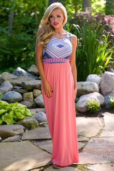 Live It Up Maxi Dress - Coral from Closet Candy Boutique #fashion #summer #outfit