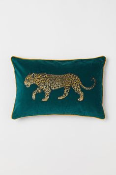 Cushion cover in cotton velvet with an embroidered design at front, contrasting trim, and concealed zipper at back. Leopard Bedroom, Leopard Decor, Gold Bedroom, Dream Bedroom, Velvet Cushions, Cushions On Sofa, Luxury Cushions, Throw Pillows, Jungle Bedroom