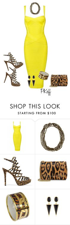 """Yellow Dress & Animal Print"" by pkoff ❤ liked on Polyvore featuring Posh Girl, Eskandar, Schutz, Jérôme Dreyfuss, Wagner Arte and Kenneth Jay Lane"