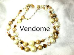 Stunning Vintage VENDOME necklace double strand Pearl gold AB crystal Statement Bride Prom Mom