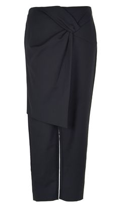 These tapered cotton-blend pants are designed for the perfect relaxed fit. This pair features a front wrap with a tie-effect at the left hip, a nod to the skirt-over-pant trend. This effect adds detail to your conventional tailored pants. Hidden zip closure at back. Back welt pockets. Unlined.    Black styled with Agathe Cropped Sleeve Top and Palma Sandals. Bay Teal styled with Silk Tie Back Cape Top and Kellen Slides.  48% Cotton, 45% Polyamide, 7% Elastane. Dry Clean Only.   Style…