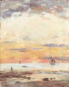 Ebb on sunset by Eugene Boudin, 1882 // ชอบสีในภาพนี้มากๆๆ เหมือนอยู่ริมหาดด้วย ชอบไปเดินเล่น