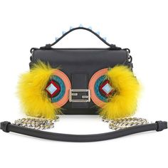 Fendi Baguette Micro Double-Sided Monster Crossbody Bag (17.350 HRK) ❤ liked on Polyvore featuring bags, handbags, shoulder bags, fendi purses, yellow shoulder bag, yellow handbag, fendi shoulder bag and studded purse