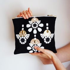 Your place to buy and sell all things handmade Bold Prints, Floral Prints, Gold Fabric, Gold Pattern, Taupe Color, Clutch Purse, Applique, Etsy Seller, Purses
