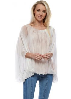 Monton Nude Watercolour Silk Top With Tie Dye Lining