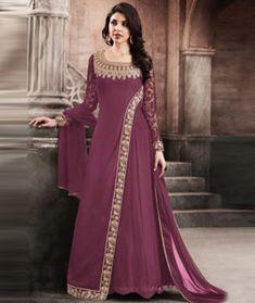 Burgundy Georgette Designer Floor Length Anarkali Suit 120893