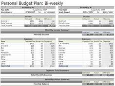 Bi weekly Budget Template