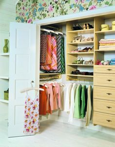 Reach-in closet in Maple with Raised Drawer front panels  I think I can make this work!!! I like it!