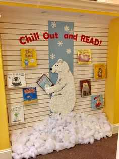 Chill Out and Read! School Library Displays, Library Themes, Library Posters, Book Themes, Arctic Decorations, School Decorations, Reading Display, Book Fairs, Chill