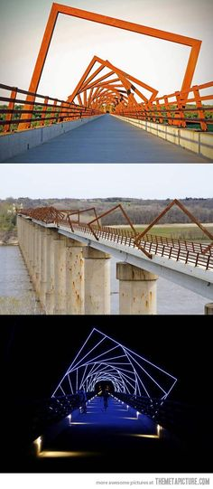 High Trestle Trail Bridge near Des Moines, Iowa;  between Madrid and Woodward, Iowa (north of Des Moines, Iowa); it is a part of the High Trestle Trail for pedestrians and cyclists; located near mining shafts, the bridge decking represents the view through a mine shaft; built on the piers (trestles) of a former railway bridge; opened in 2011