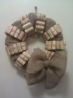 New wreath made with wine corks and burlap