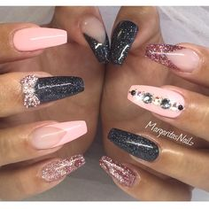Glittery Pink and Black Nails With Rhinestones