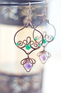 Wire wrapped  copper earrings dangle oxidized by SabiKrabi on Etsy