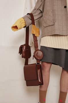 [unisex] 3 point leather bagBrown