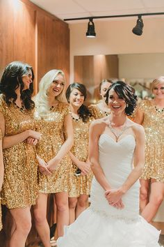 gold sequined bridesmaid dresses #goldwedding