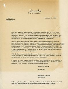 1960: Invitation from Straub's to experience the new store in Webster Groves