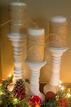 Inexpensive Christmas Decor: burlap and glitter ribbon candles and many more ideas