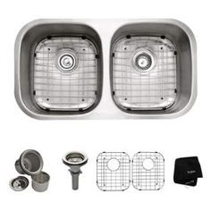 "View the Kraus KBU22 32-1/4"" Undermount 50/50 Double Bowl 16 Gauge Stainless Steel Kitchen Sink at FaucetDirect.com."