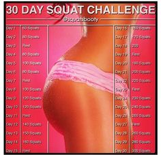 Squat challenge... I actually do the number of squats on the chart times 2 since I do front and back squats. Fast results.
