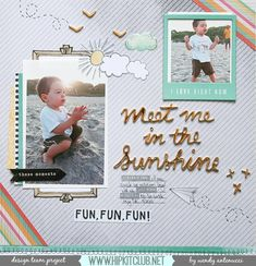 Meet Me in the Sunshine - Hip Kit Club with Amy Tangerine (On the Road to Destiny) 12x12 Scrapbook, Scrapbook Page Layouts, Digital Scrapbooking, Scrapbooking Ideas, Layout Inspiration, Creative Inspiration, Life Inspiration, Hip Kit Club, Studio Calico