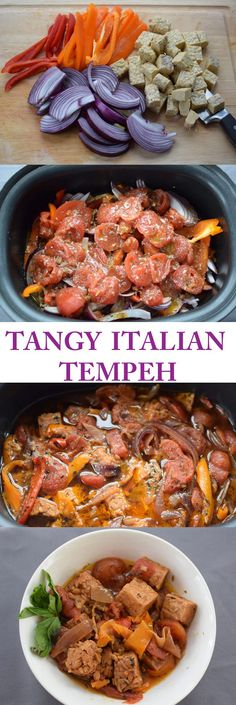 Tangy Italian Slow Cooker Tempeh with Peppers, Onions, and Tomatoes.  Simple to make and tasty to eat.