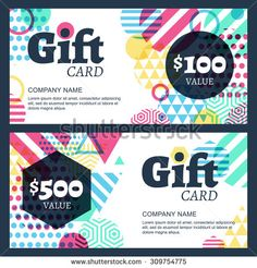 Vector creative gift voucher or card background template. Abstract multicolor geometric pattern. Concept for boutique, fashion shop, jewelry, accessorize, hotel, restaurant, flyer, banner design.