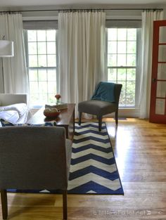 white IKEA Ritva curtains, blue chevron rug, living room update || alittleofalot.net Living Room Update, Living Room Decor, Bedroom Decor, Master Bedroom, Classic Living Room, Elegant Living Room, Ikea Curtains, Home Office Decor, Home Decor