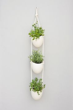 3 tier porcelain and cotton rope planter di lightandladder su Etsy, $140.00