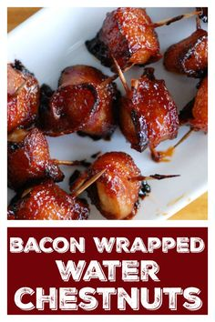 Bacon wrapped water chestnuts are water chestnuts wrapped in bacon slathered in a brown sugar glaze. Bacon Appetizers, Appetizers For Party, Appetizer Recipes, Bacon Wrapped Water Chestnuts, Bacon Water Chestnuts Recipe, Kitchen Recipes, Cooking Recipes, Chestnut Recipes, Gluten Free Puff Pastry