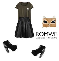 """ROMWE T-SHIRT!"" by elmina-1 ❤ liked on Polyvore featuring Jeremy Scott, Jeffrey Campbell and Betsey Johnson"