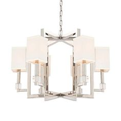 """Dixon 6 Light Polished Nickel Chandelier  Material: Steel Finish: Polished Nickel Shade Dimensions: 4"""" x 6.5"""""""