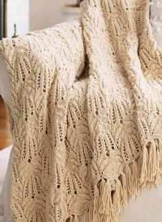 This pattern for a Lace and Cable Knit Afghan is a great project. Chic and classy for any space!