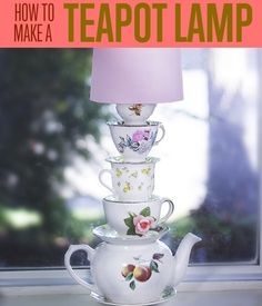 How to Make a Teapot Lamp | Try this Alice in Wonderland inspired project for stylish DIY Home Decor Idea http://diyready.com/alice-in-wonderland-style-stacked-teacup-lamp/ #DiyReady