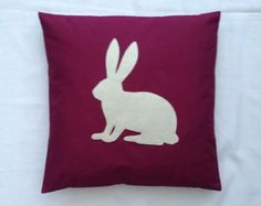 The Winter Hare - Wine & Cream Applique Rabbit Silhouette Cushion Cover