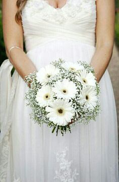 Rustic/Boho/Shabby Chic/Country Wedding Bouquet Showcasing: White Gerbera Daisies Surrounded By White Gypsophila (Baby's Breath) Gerbera Wedding Bouquets, Gerbera Daisy Bouquet, Country Wedding Bouquets, Daisy Wedding Flowers, Wedding Flower Arrangements, Gerbera Daisies, Gypsophila Bouquet, Gerbera Daisy Centerpiece, Flower Centerpieces