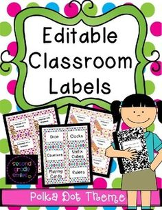 Editable Classroom Labels in a Polka Dot Theme -This pack includes over 60 pages of labels to help keep your classroom supplies organized this school year, all with a cute polka dot theme! $